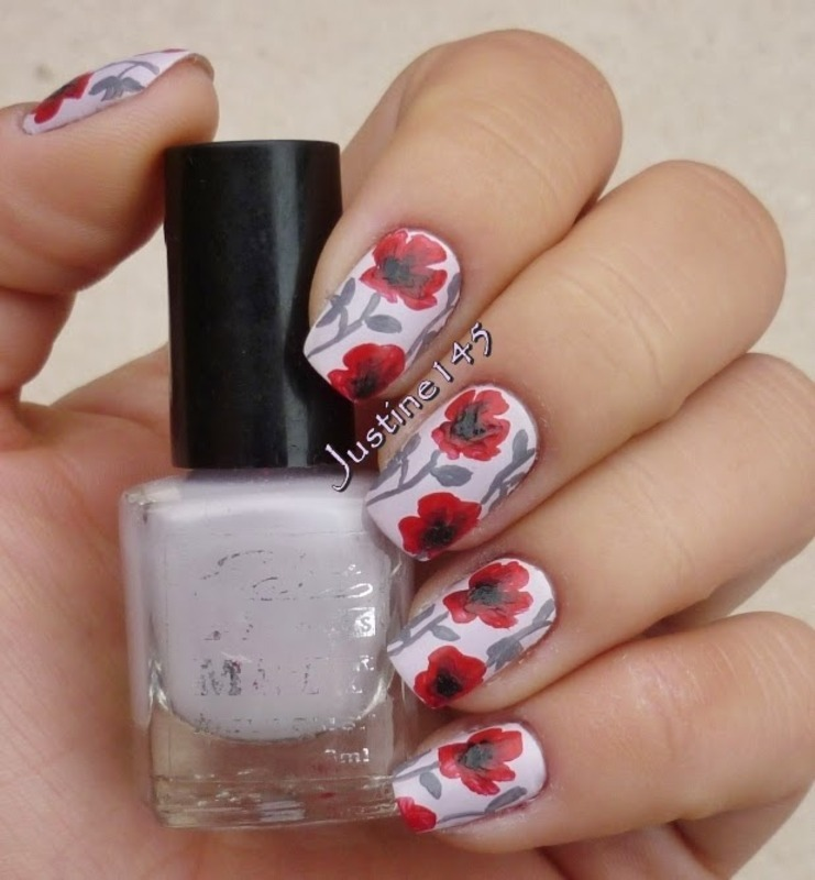 poppies nail art by Justine145