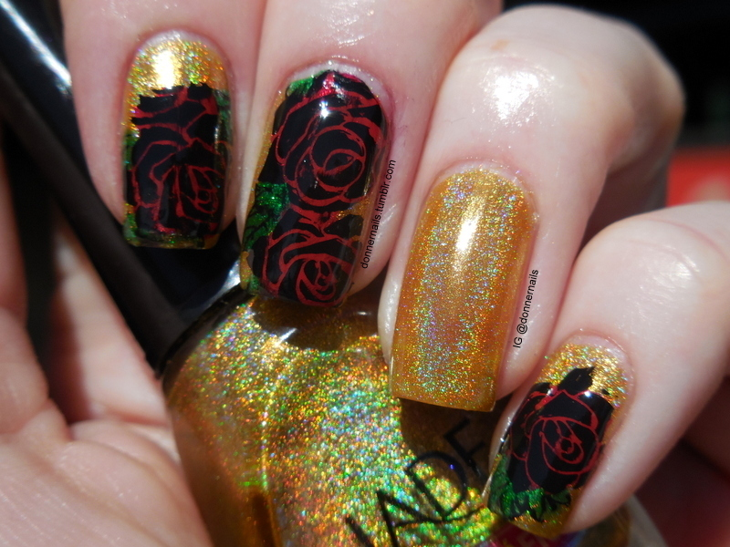 Holo & Roses nail art by Donner