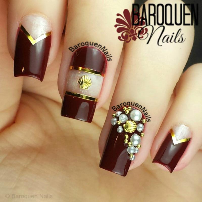 She Sells Sea Shells nail art by BaroquenNails