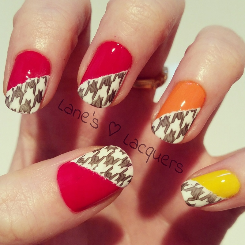 Houndstooth nail art by Rebecca