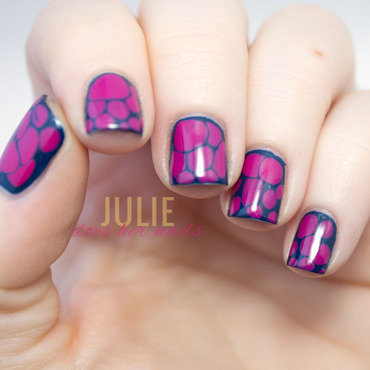 Navy and Purple Blobicure nail art by Julie