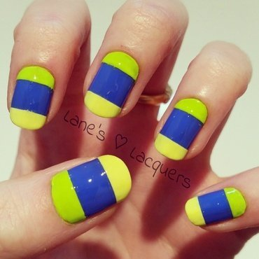 Neon Double French Manicure nail art by Rebecca