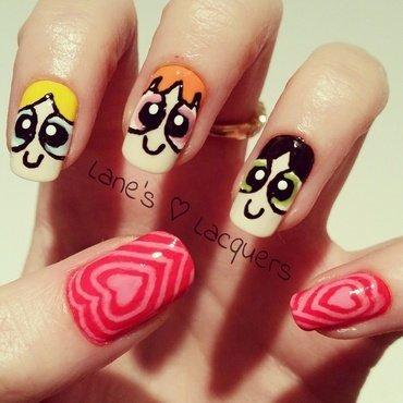 Powerpuff Girls Manicure nail art by Rebecca