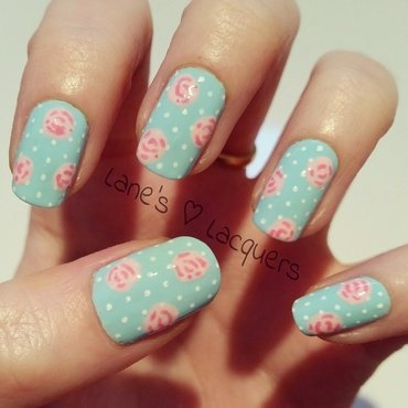 Mani swap my mint nails barry m spring cath kidston roses polka dot nail art thumb370f