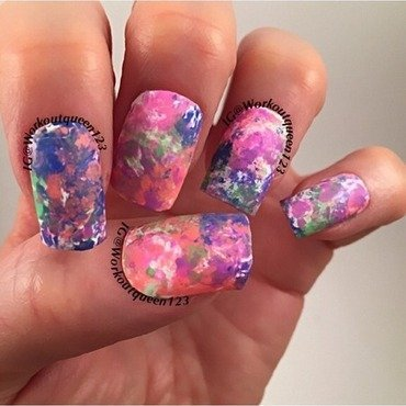 Saran Wrap  nail art by Workoutqueen123