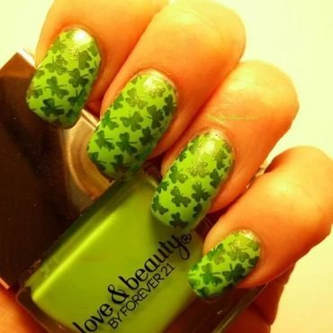 St Patrick's Day Lucky  Clovers nail art by Angelique Adams