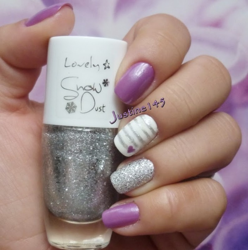 purple and silver nail art by Justine145