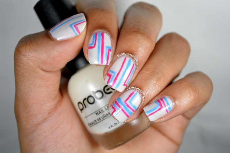 Colored Lines nail art by Fatimah