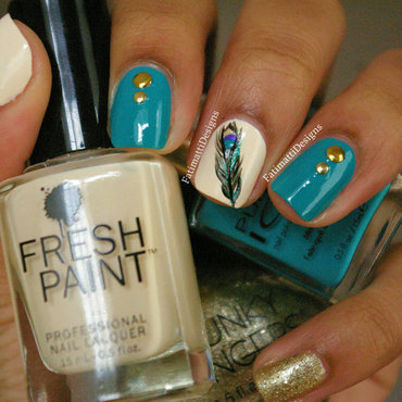 Peacock Glamour nail art by Fatimah