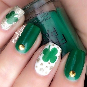St Pattys Day design nail art by Melissa