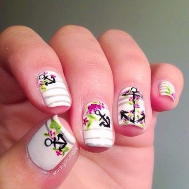 Nautical +floral  nail art by Massiel Pena