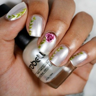 Vines And Rose nail art by Fatimah