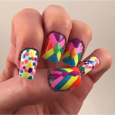 Neons nail art by Workoutqueen123