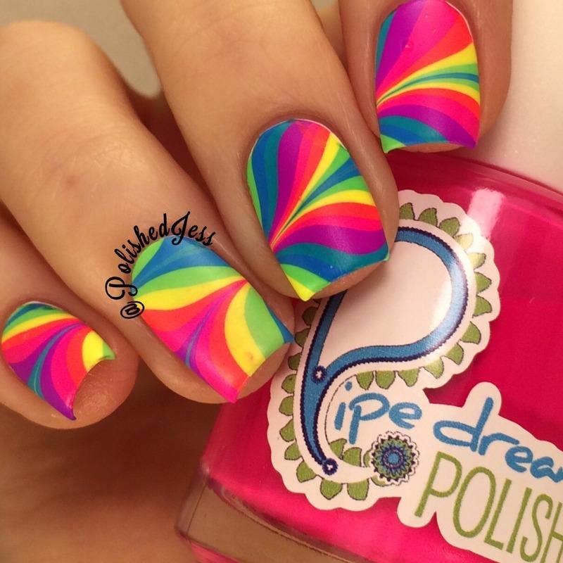 Rainbow Marble nail art by PolishedJess