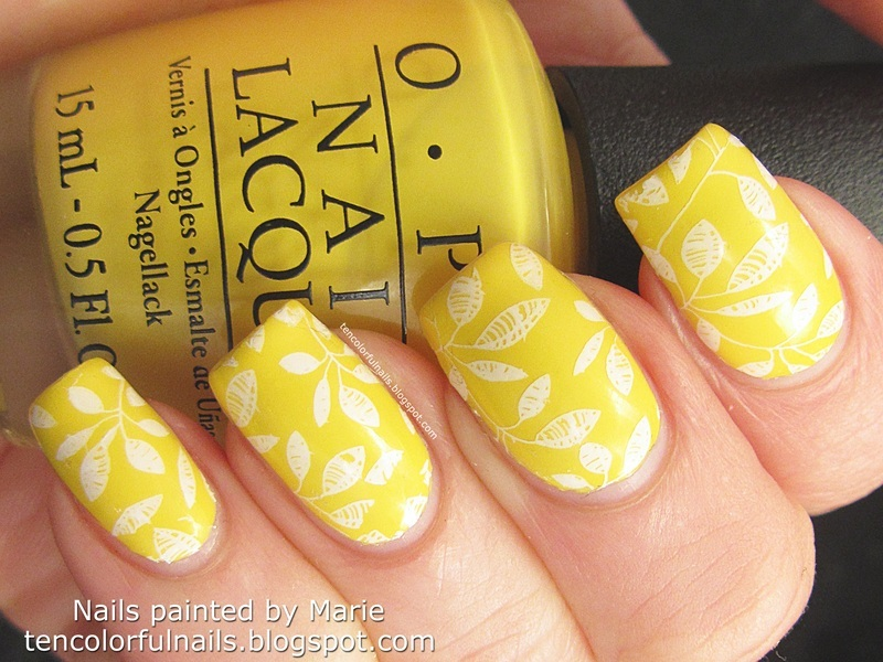 Sunny Yellow Stamped Nail Art Nail Art By Marie Nailpolis Museum