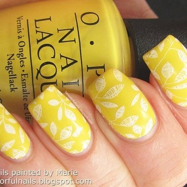 Sunny Yellow Stamped Nail Art nail art by Marie