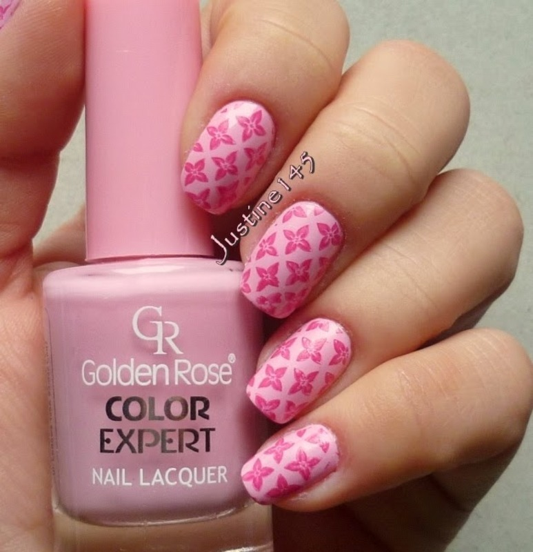 pink flowers nail art by Justine145