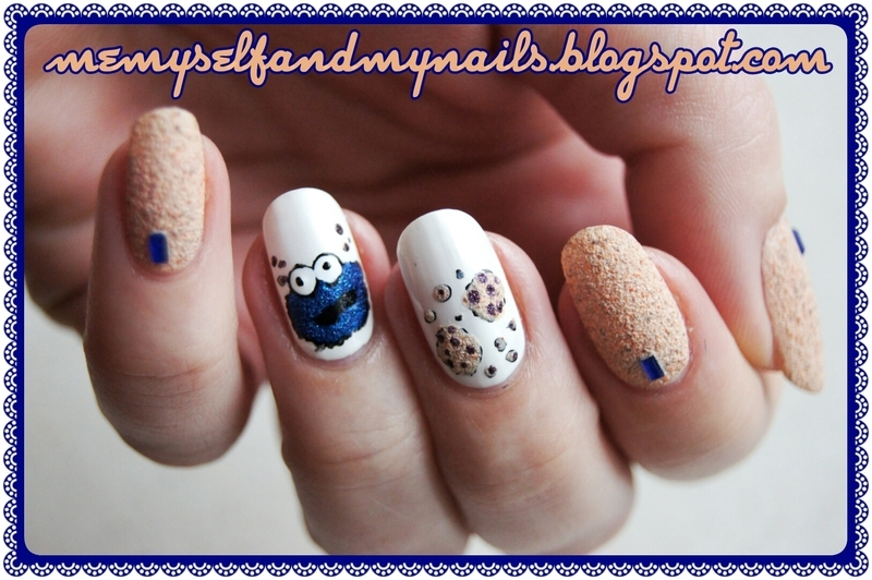 Cookie Monster nail art by ELIZA OK-W