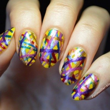 Rubber band ball nail art by Furious Filer