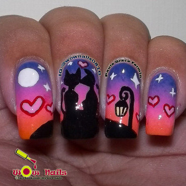 Cats in love nail art by Paula of Wow Nails