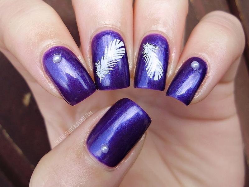 Purple feather nails nail art by Sanela - Nailpolis: Museum of Nail Art