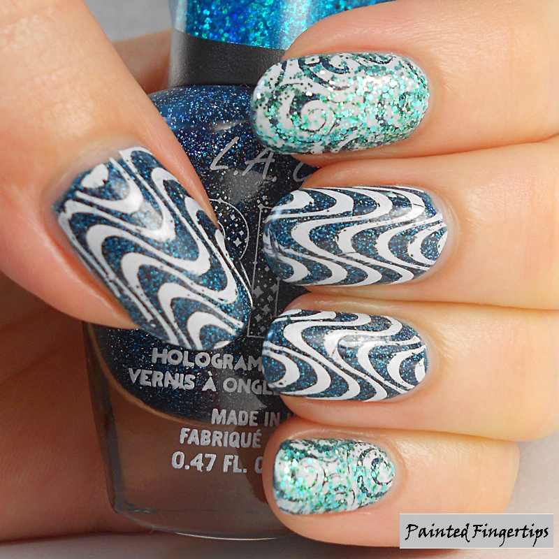 Teal Dimension nail art by Kerry_Fingertips