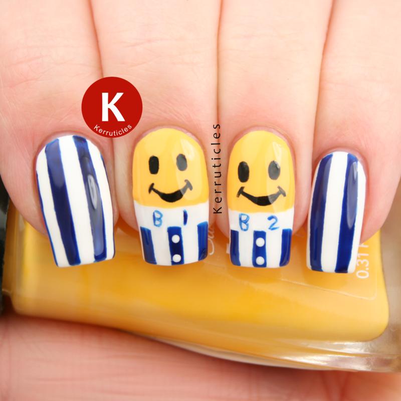 Bananas In Pyjamas nails nail art by Claire Kerr