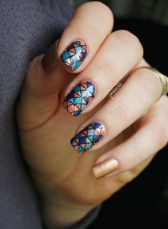 Arlequin Végétal nail art by Pmabelle