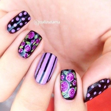 Gothic Purple and Black Floral nail art by ℐustine