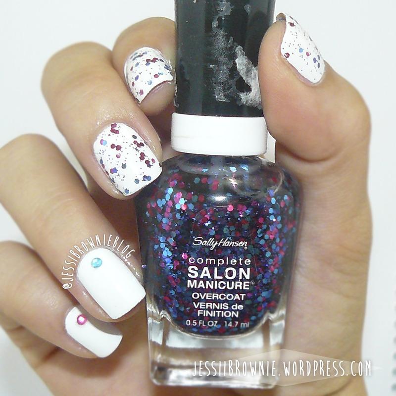 Candy Pop ft Sally Hansen Complete Salon Manicure nail art by Jessi Brownie (Jessi)