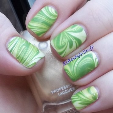St. Patrick's water marble nail art by Jenette Maitland-Tomblin