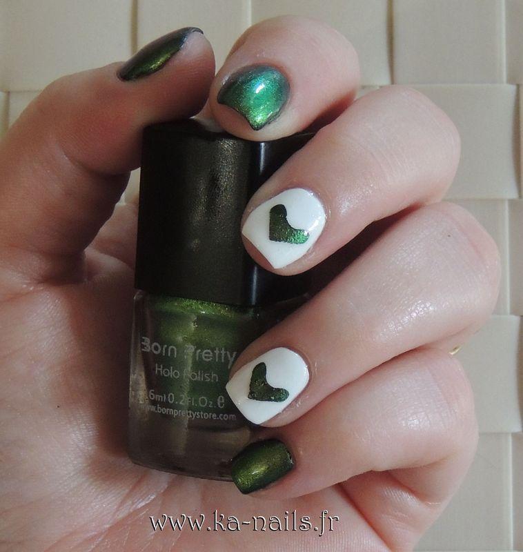 Cœurs vert nail art by Ka'Nails