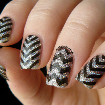 Holo Chevron nail art by Ewlyn