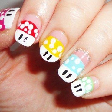 Mario's Mushrooms!! nail art by Melany Antelo
