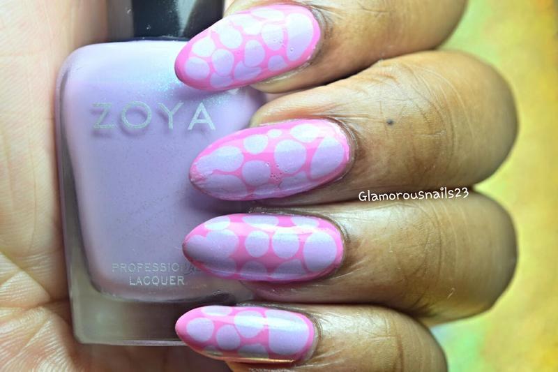 Pink & Lilac Blobbicure nail art by glamorousnails23