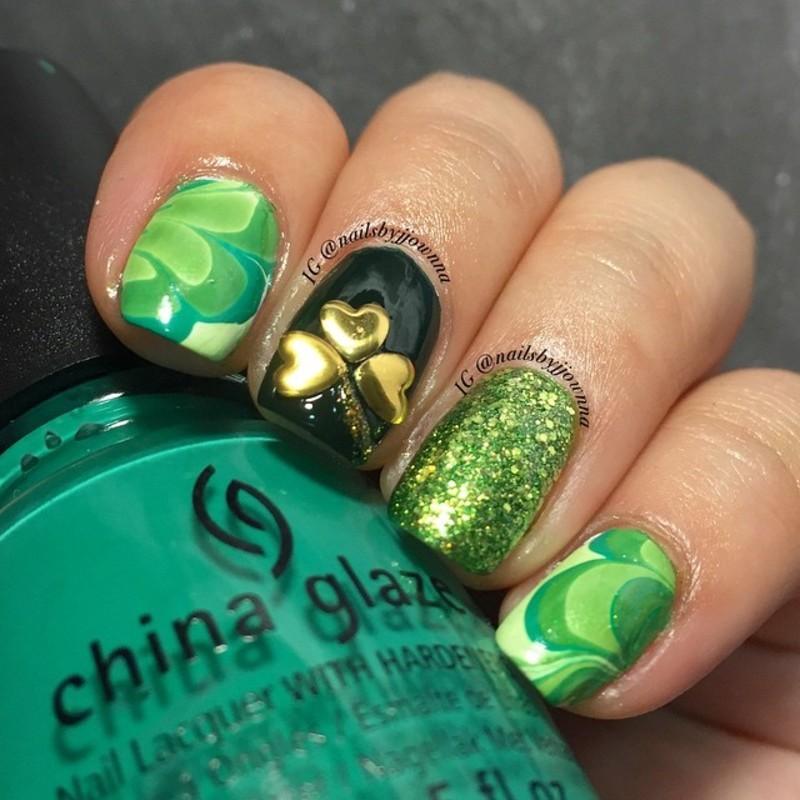 St. Patrick's Nails nail art by Jonna Dee