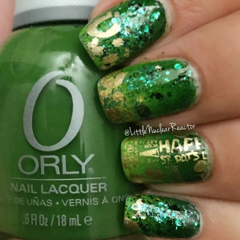 St Patrick's Day  nail art by LittleNuclearReactor