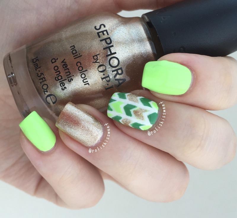St. Patrick's Day Inspired Herringbone! nail art by PolishIsSweet