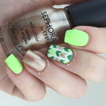 St. Patrick's Day Inspired Herringbone! nail art by PolishIsSweet