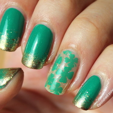 St. Patrick's clovers nail art by Polished Polyglot