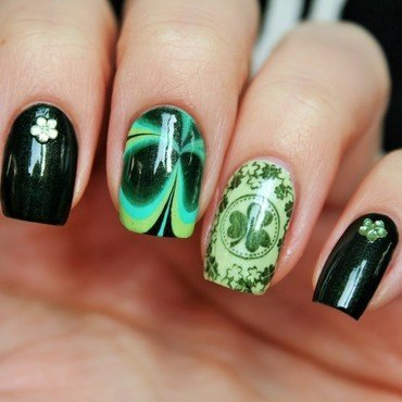 St.Patrick`s day nail art by Jane