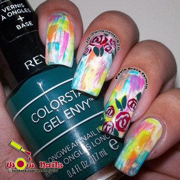 Roses over Neons nail art by Paula of Wow Nails