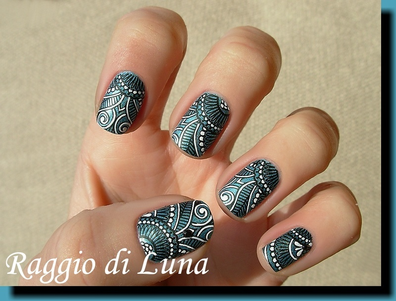 Black & white tribal stamping manicure on Breathe (BP17) nail art by ...