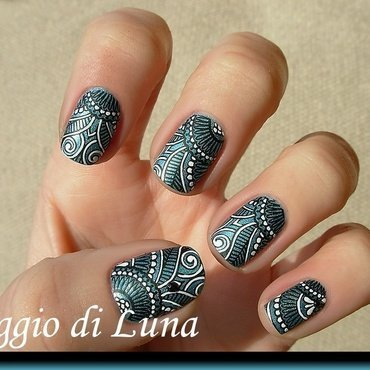 Black & white tribal stamping manicure on Breathe (BP17) nail art by Tanja