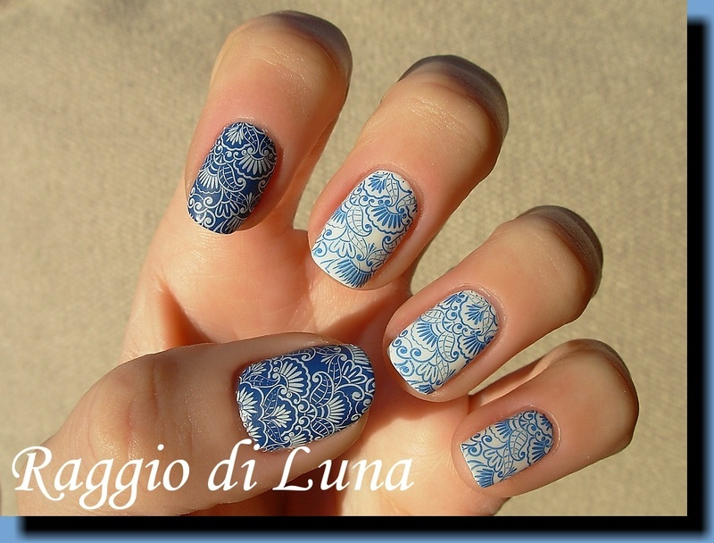 Stamping: White & blue floral manicure nail art by Tanja