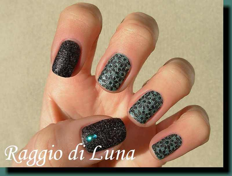 Staming: Black flowers on textured green nail art by Tanja