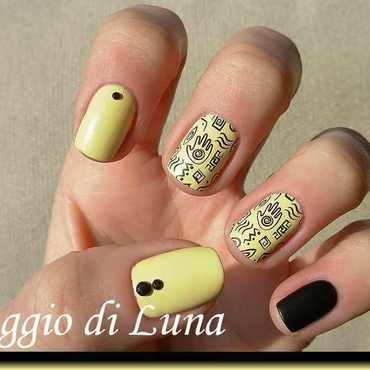 Stamping: Tribal black stamping on pastel yellow nail art by Tanja