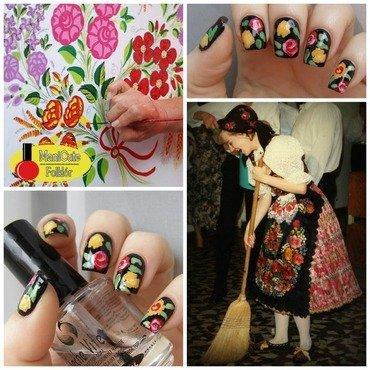 Folk&Roses nail art by Szilvia