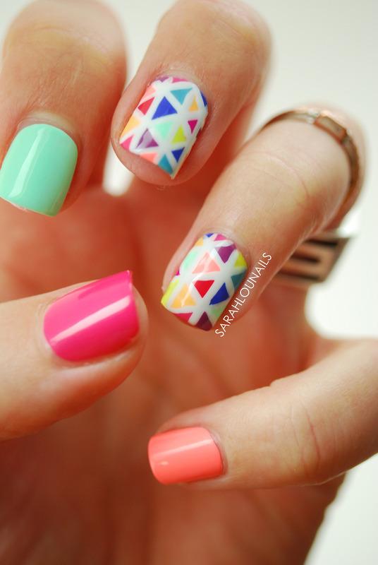 Bright Triangle Nails! nail art by Sarah S