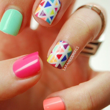 Bright Triangle Nails! nail art by Sarah S